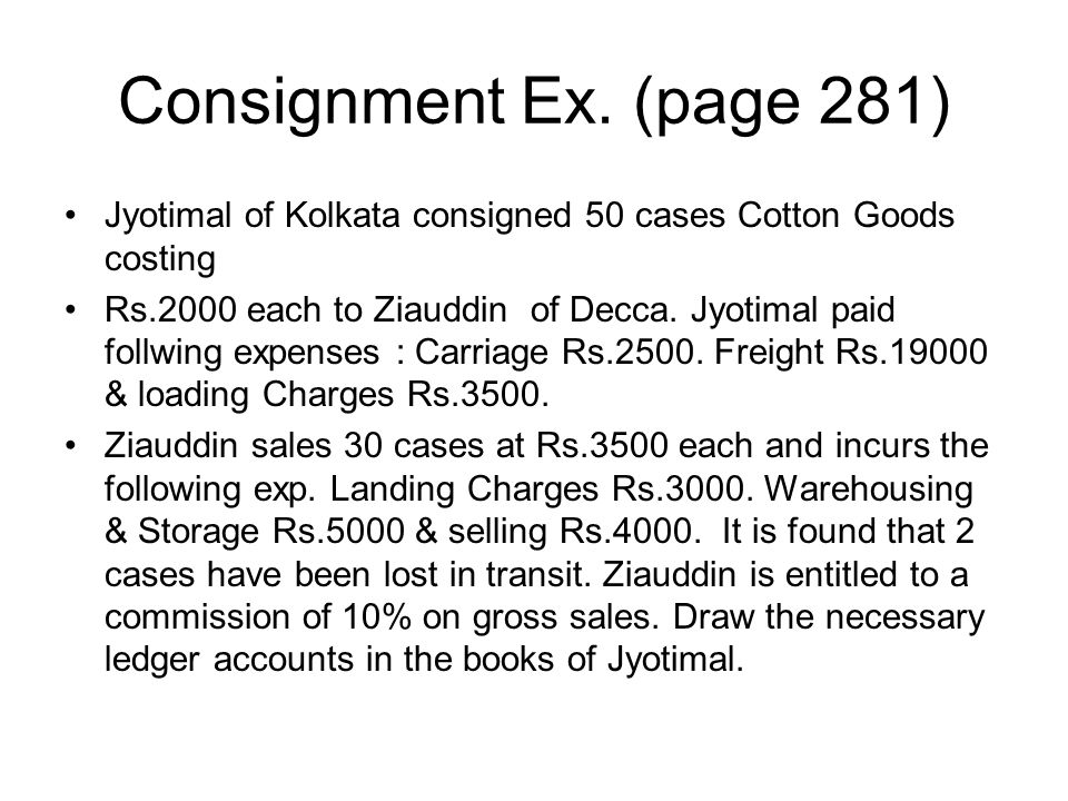 Consignment Ex. (page 281) Jyotimal of Kolkata consigned 50 cases Cotton Goods costing.
