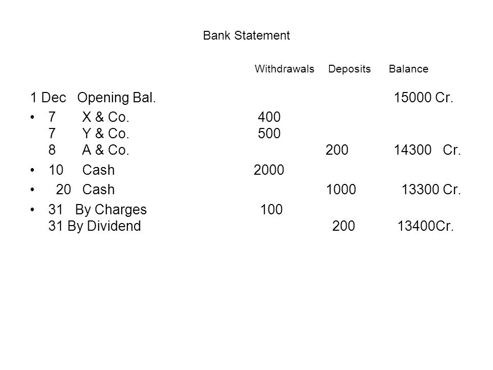 Bank Statement Withdrawals Deposits Balance