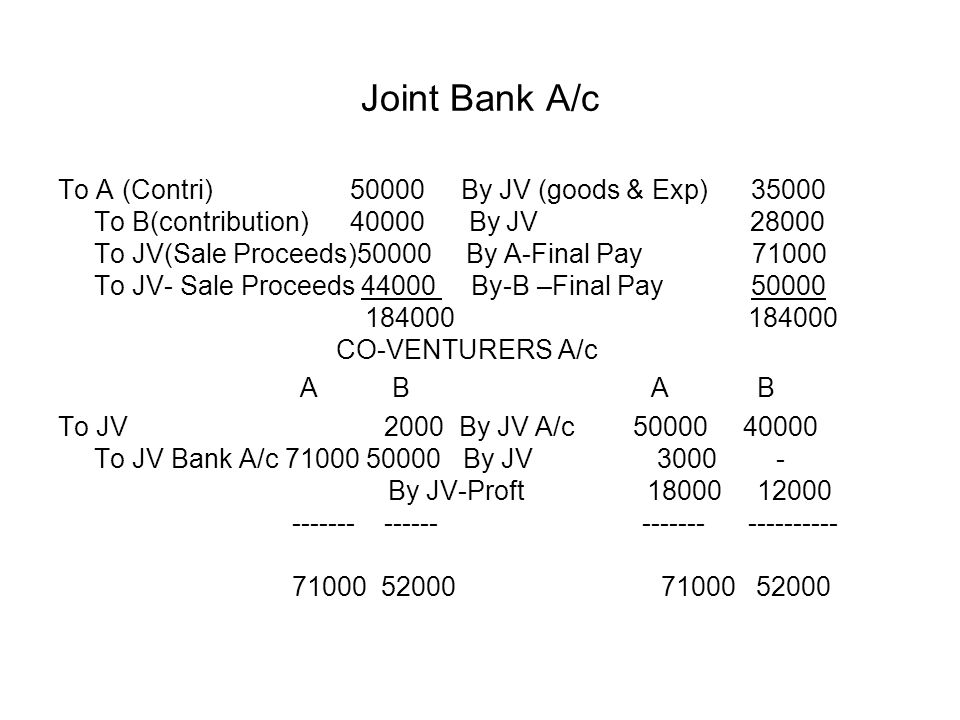 Joint Bank A/c