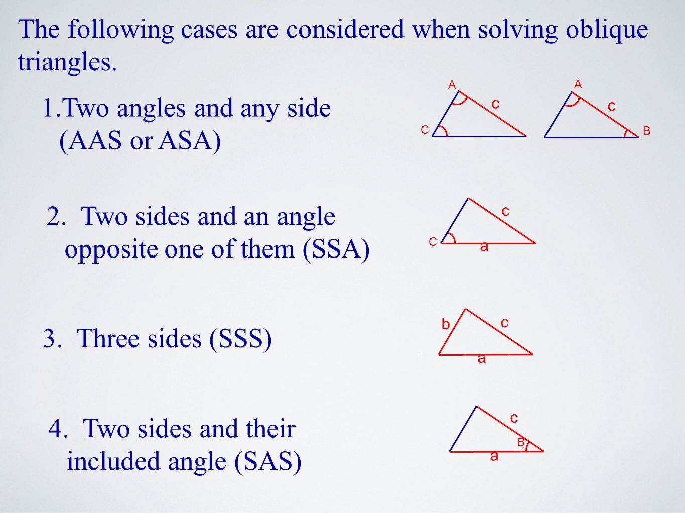 The following cases are considered when solving oblique triangles.