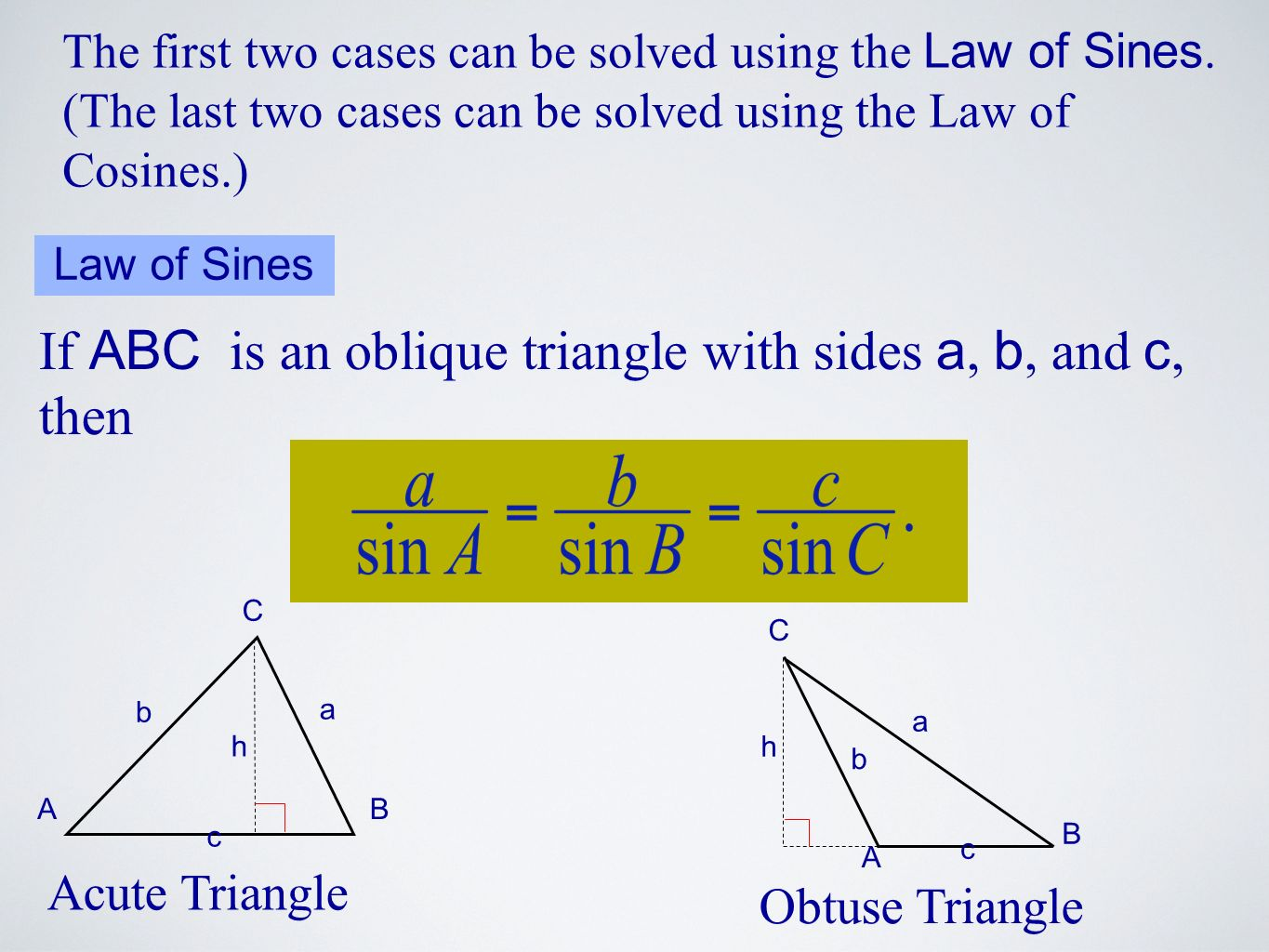 If ABC is an oblique triangle with sides a, b, and c, then