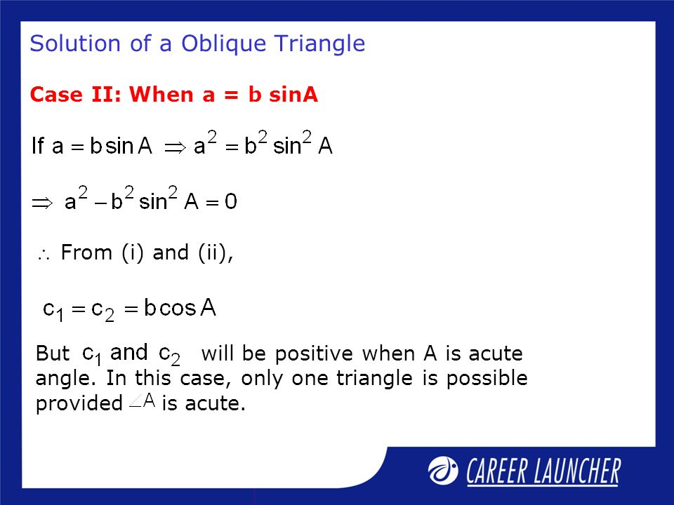 Solution of a Oblique Triangle
