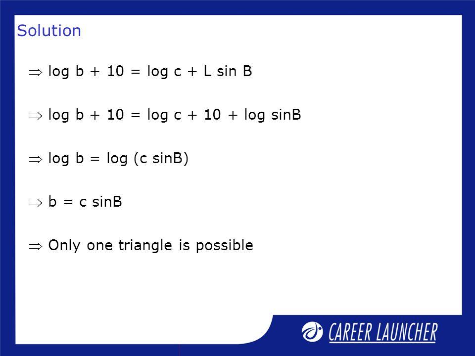 Solution  log b + 10 = log c + L sin B