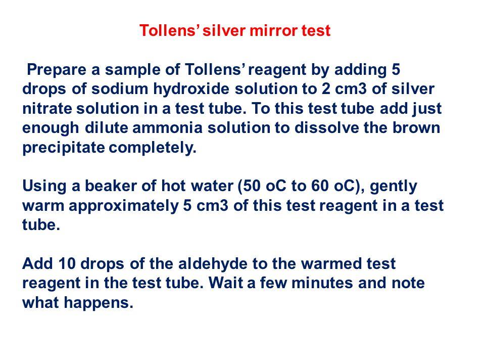 Tollens' silver mirror test
