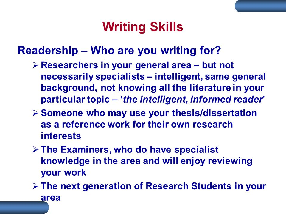 Writing Skills Readership – Who are you writing for