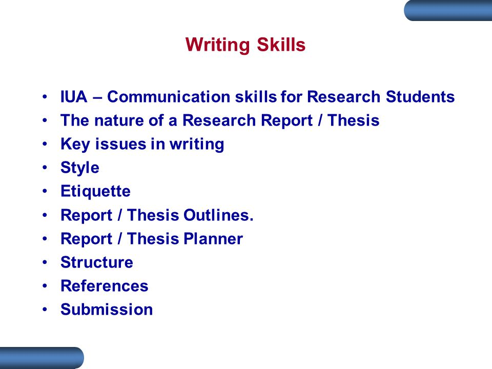 Writing Skills IUA – Communication skills for Research Students
