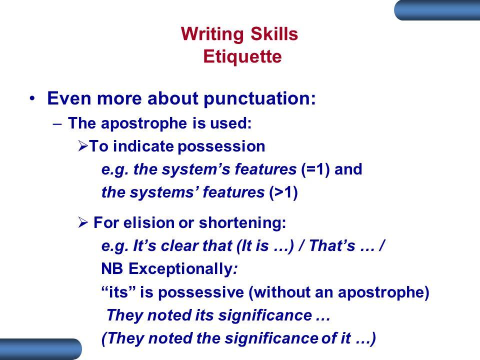 Writing Skills Etiquette