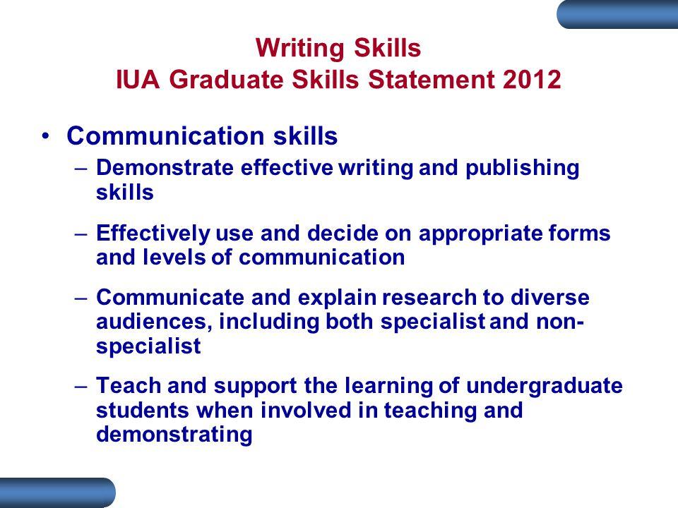 Writing Skills IUA Graduate Skills Statement 2012