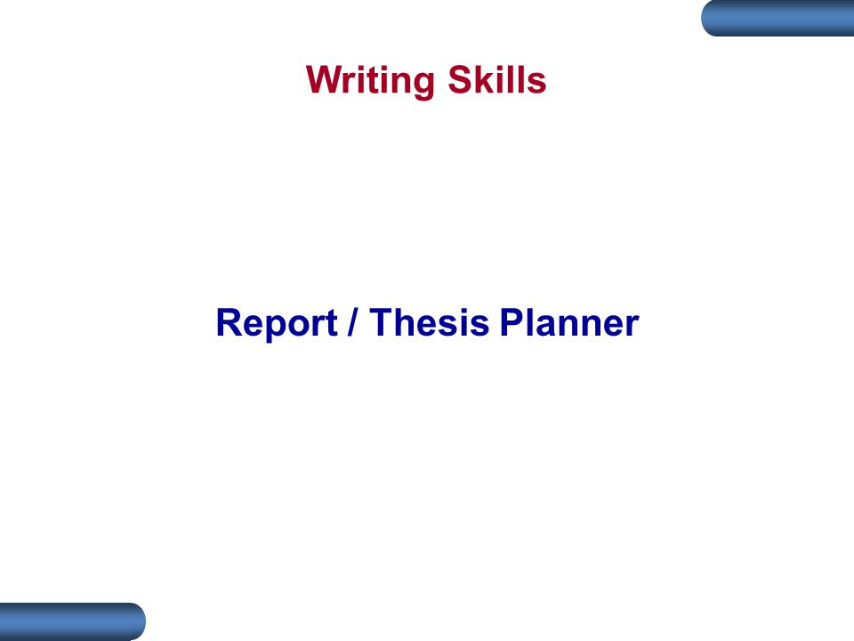 Report / Thesis Planner