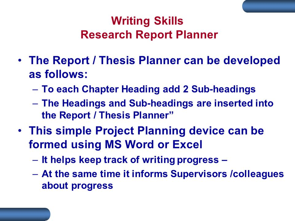 Writing a progress report ppt