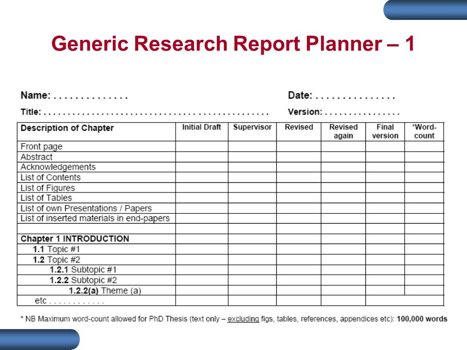 Generic Research Report Planner – 1
