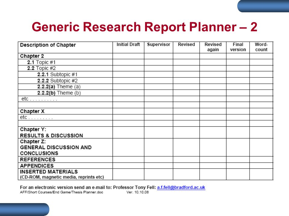 Generic Research Report Planner – 2