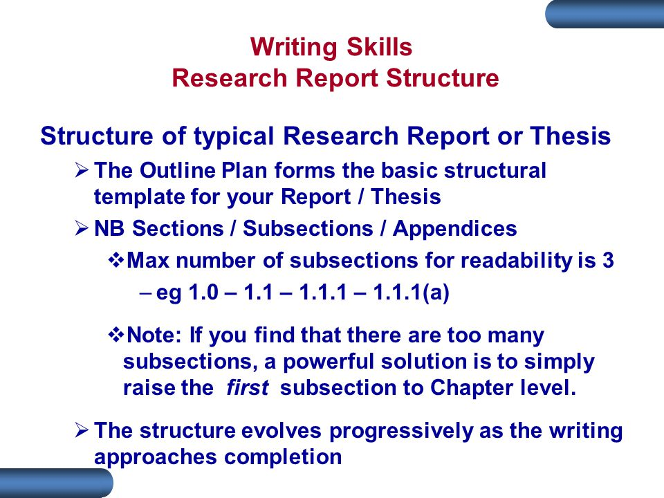 Writing Skills Research Report Structure