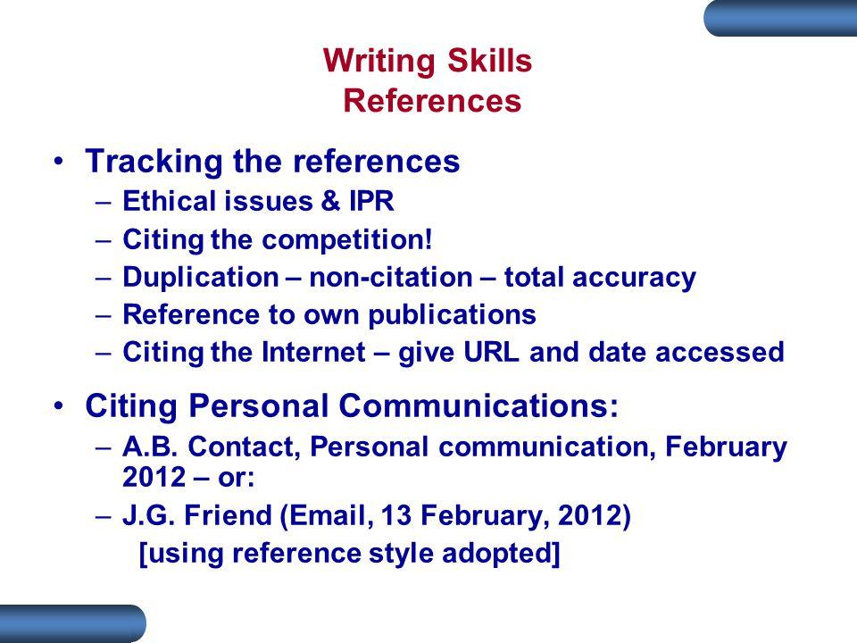 Writing Skills References