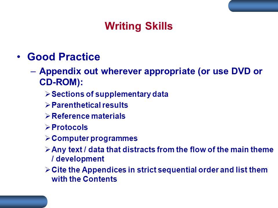 Writing Skills Good Practice