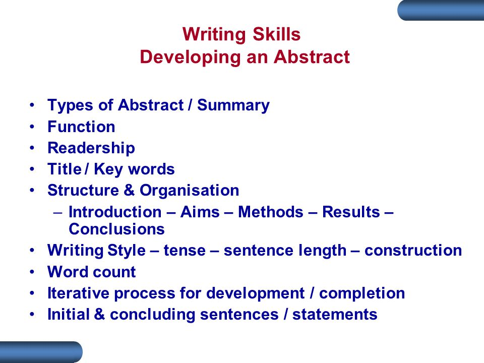 Writing Skills Developing an Abstract