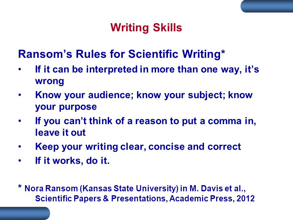 Ransom's Rules for Scientific Writing*