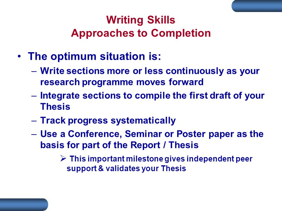 Writing Skills Approaches to Completion