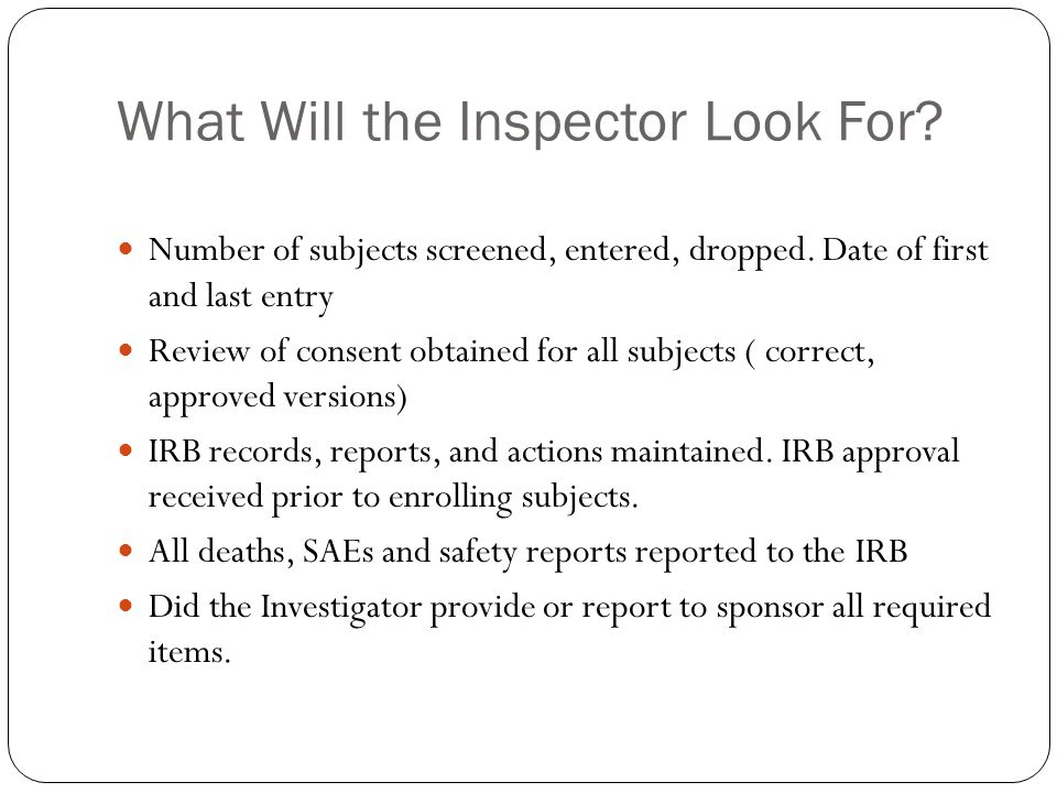 What Will the Inspector Look For