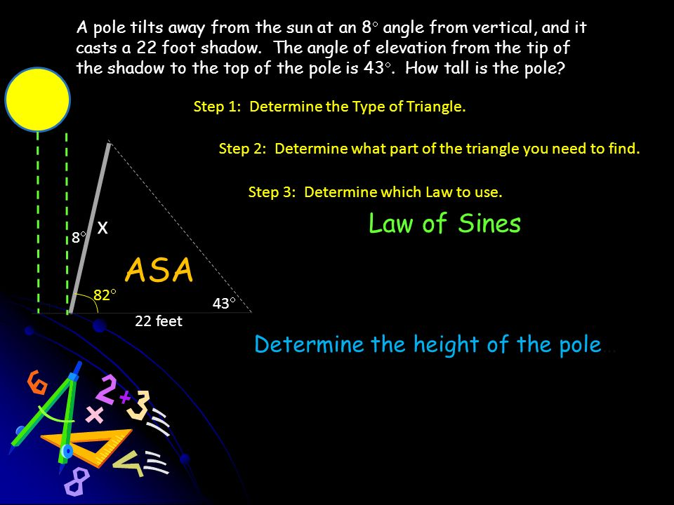 ASA x Law of Sines Determine the height of the pole…