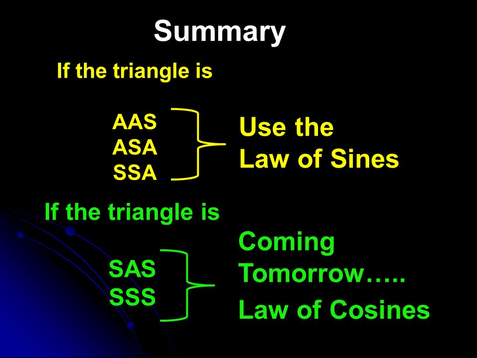 Summary Use the Law of Sines Coming Tomorrow….. Law of Cosines