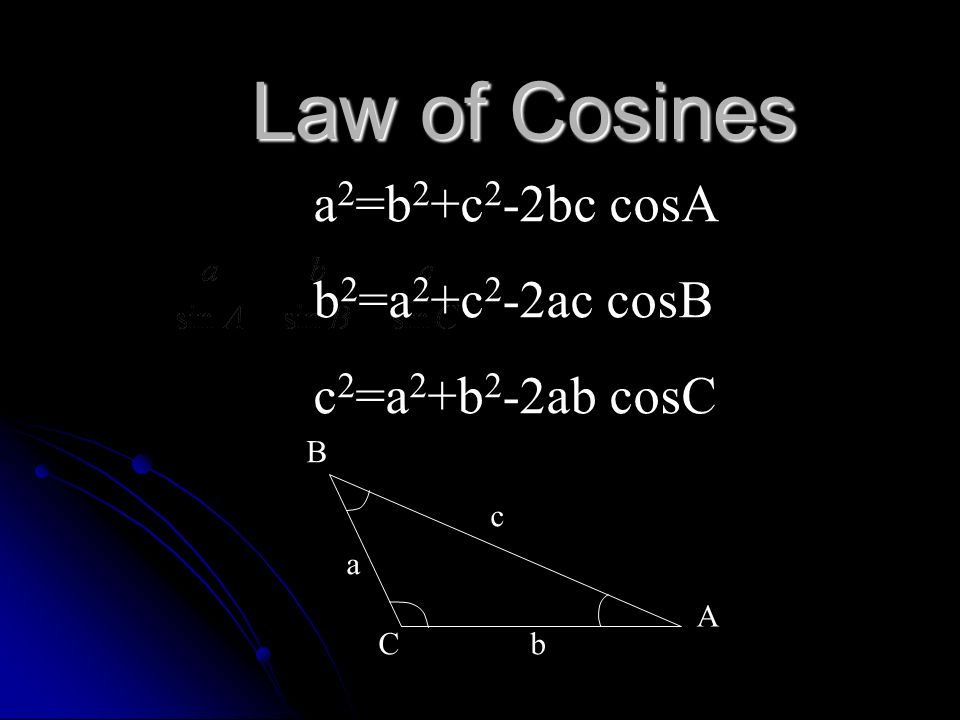 Law of Cosines a2=b2+c2-2bc cosA b2=a2+c2-2ac cosB c2=a2+b2-2ab cosC a