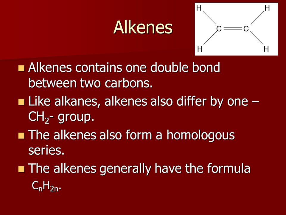 Alkenes Alkenes contains one double bond between two carbons.