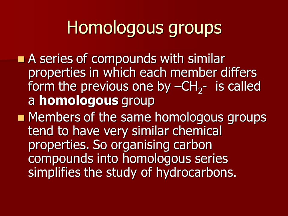 Homologous groups