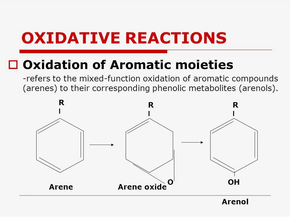 OXIDATIVE REACTIONS Oxidation of Aromatic moieties