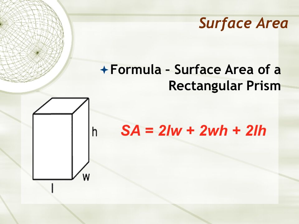 Surface Area SA = 2lw + 2wh + 2lh