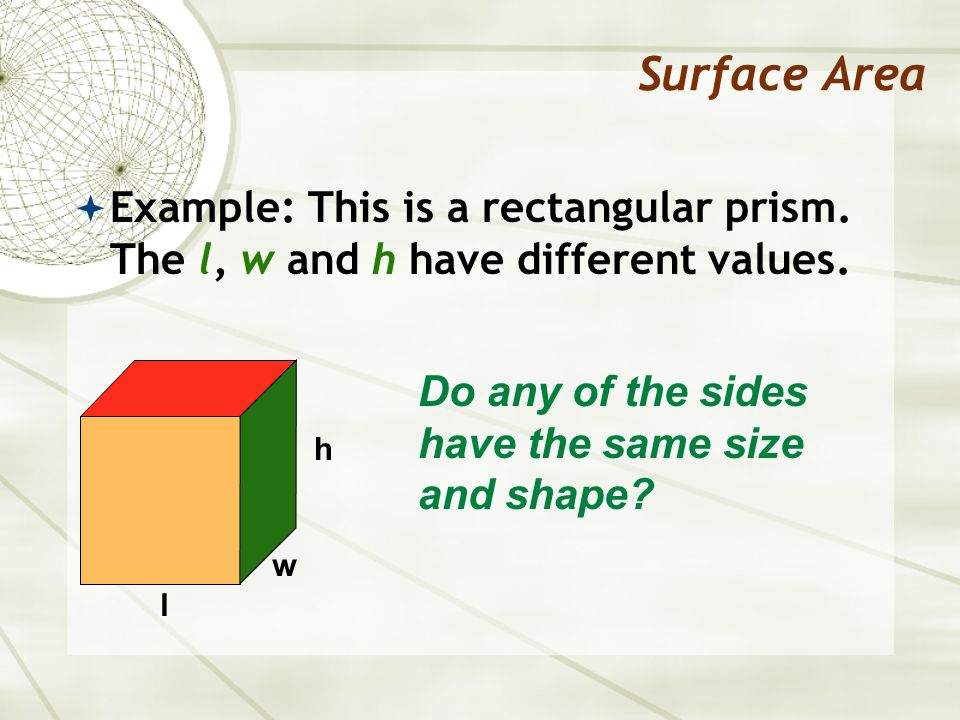 Surface Area Example: This is a rectangular prism. The l, w and h have different values. Do any of the sides have the same size and shape