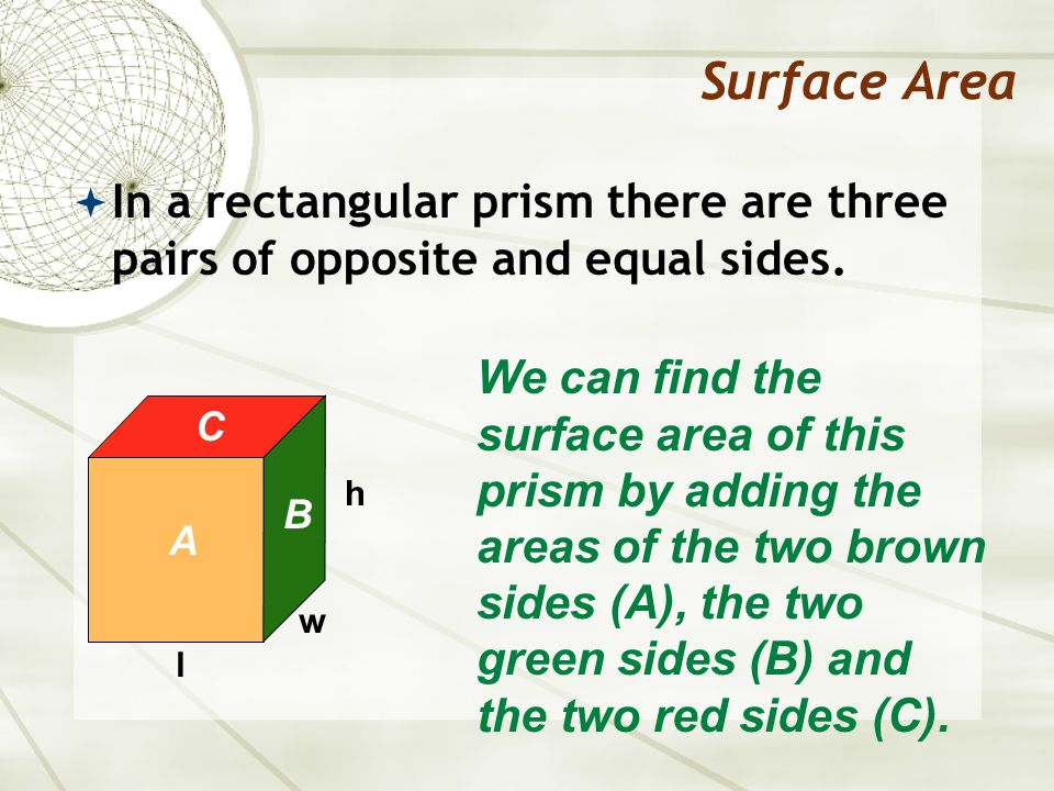 Surface Area In a rectangular prism there are three pairs of opposite and equal sides.
