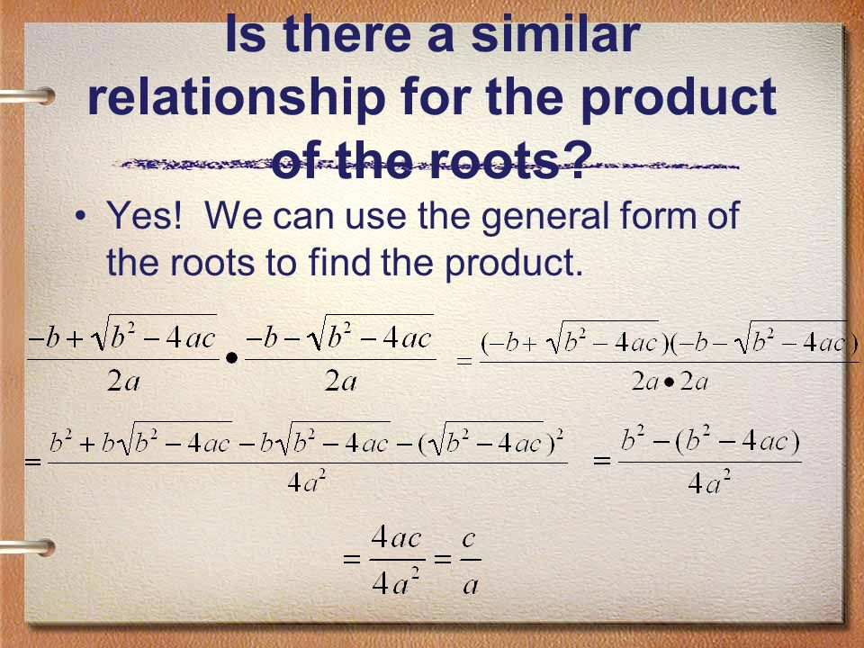 Is there a similar relationship for the product of the roots