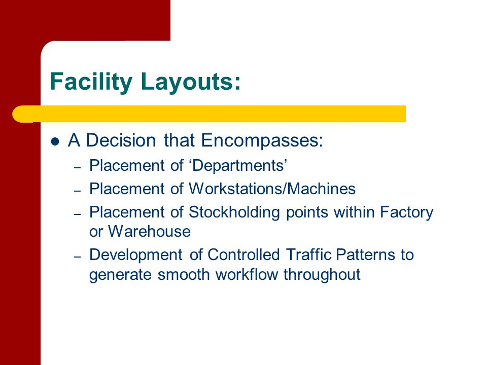 Facility Layouts: A Decision that Encompasses:
