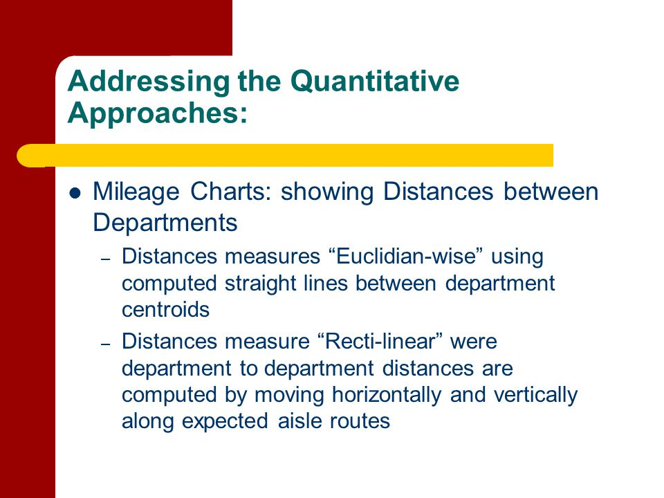 Addressing the Quantitative Approaches:
