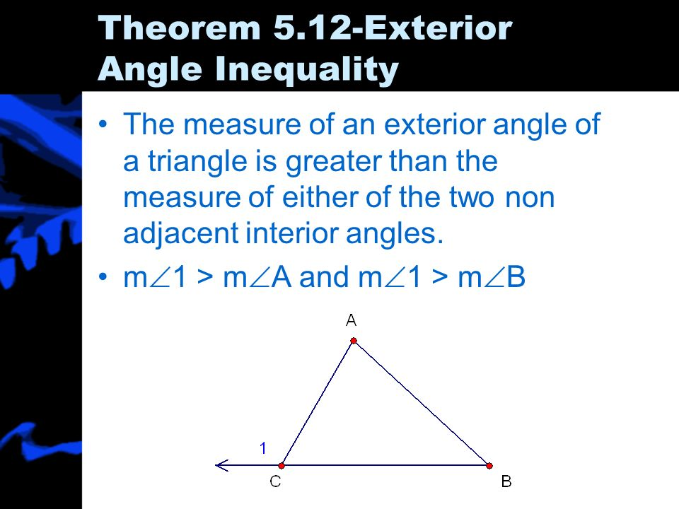 5 5 inequalities in one triangle ppt download - The exterior angle theorem answers ...