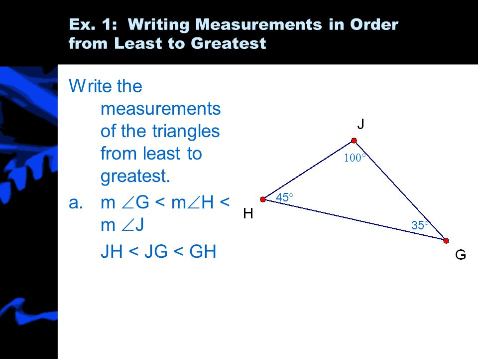 Ex. 1: Writing Measurements in Order from Least to Greatest