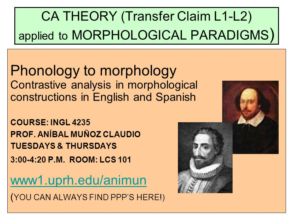CA THEORY (Transfer Claim L1-L2) applied to MORPHOLOGICAL PARADIGMS)