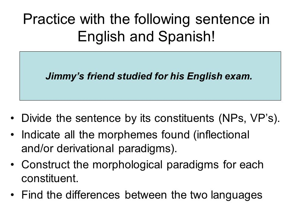 Practice with the following sentence in English and Spanish!