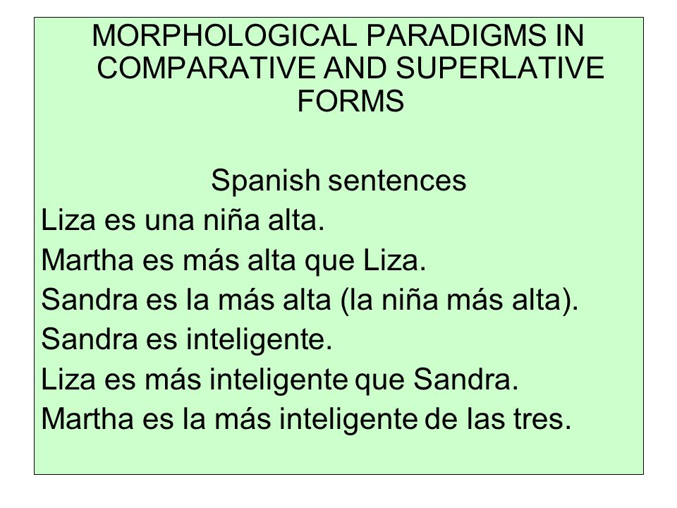 MORPHOLOGICAL PARADIGMS IN COMPARATIVE AND SUPERLATIVE FORMS