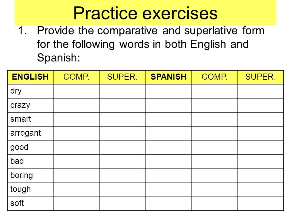 Practice exercises Provide the comparative and superlative form for the following words in both English and Spanish:
