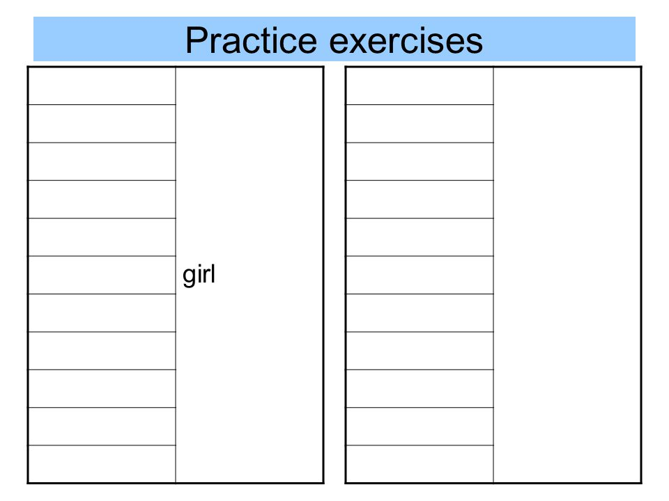 Practice exercises girl