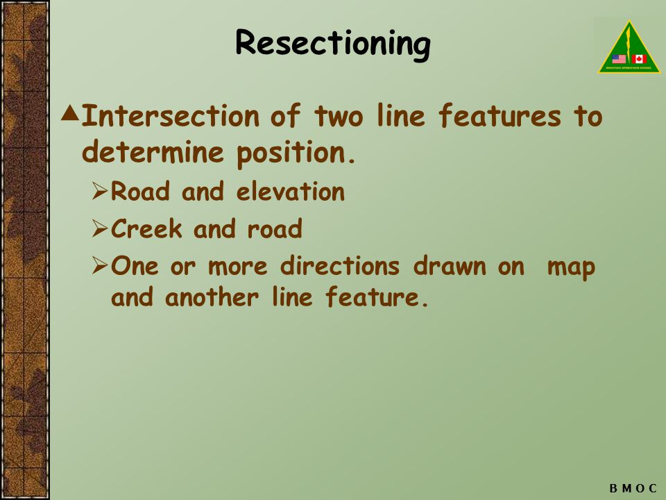 Resectioning Intersection of two line features to determine position.