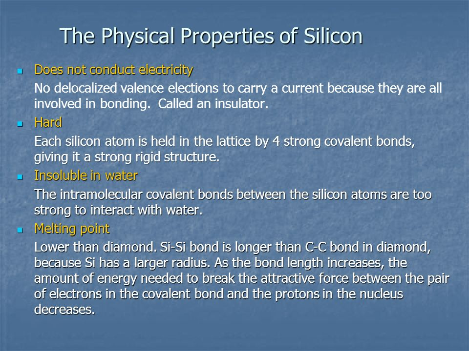 The Physical Properties of Silicon