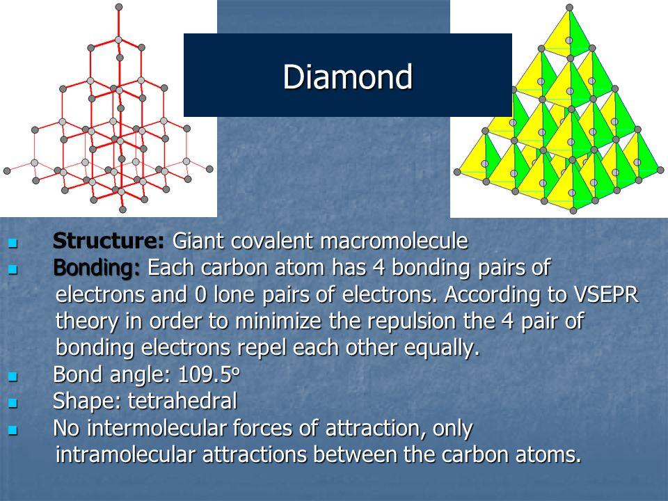 Diamond Structure: Giant covalent macromolecule