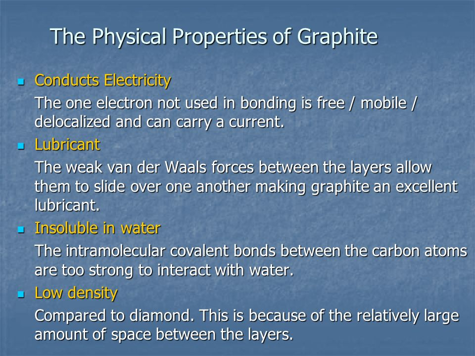 The Physical Properties of Graphite