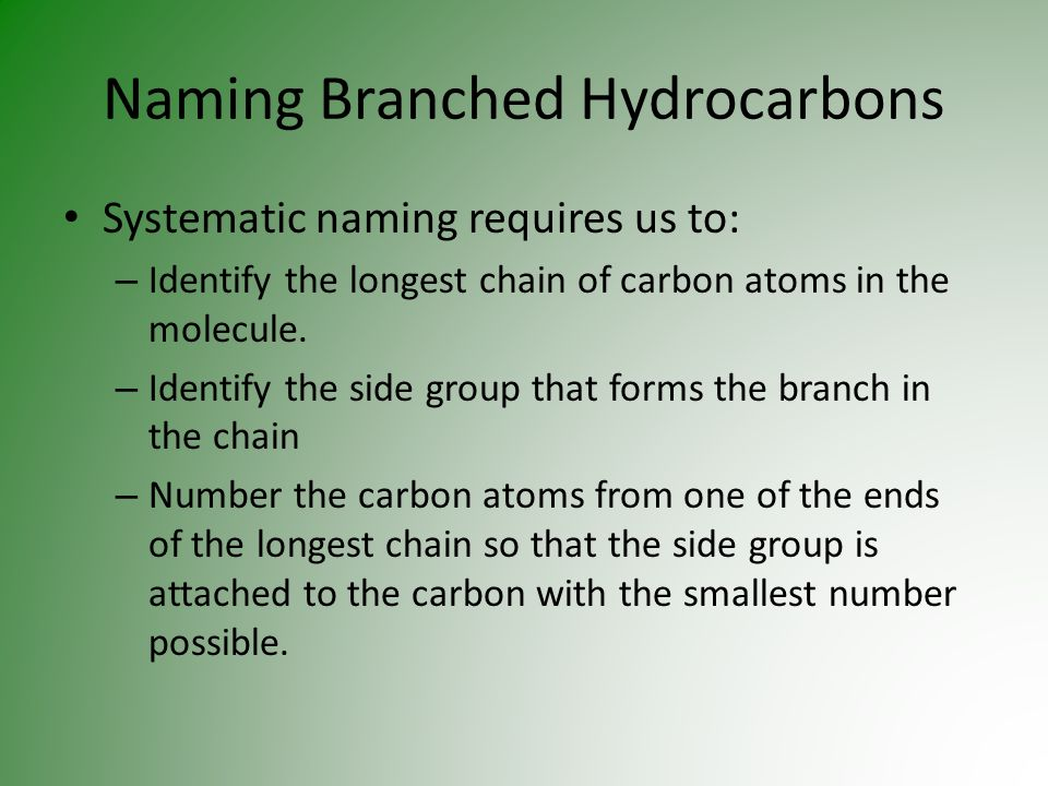 Naming Branched Hydrocarbons