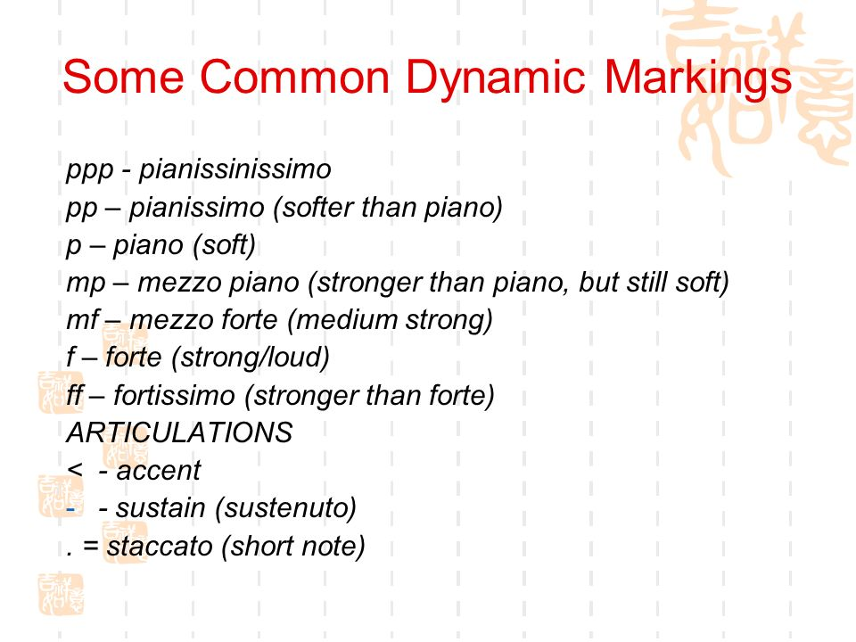 Some Common Dynamic Markings