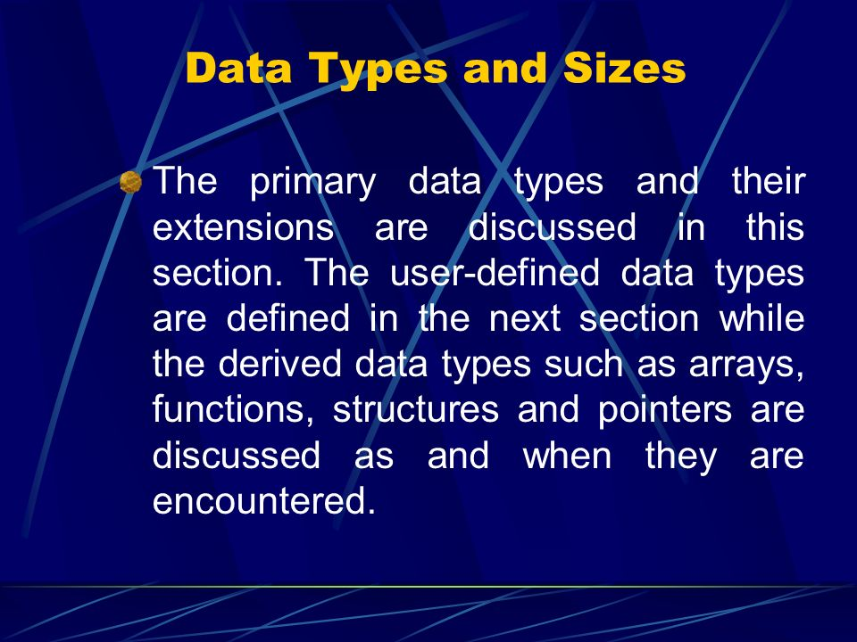 Data Types and Sizes