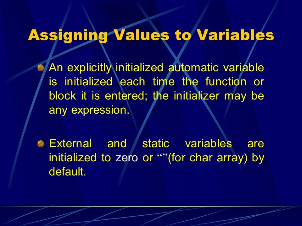 Assigning Values to Variables